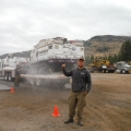 Obadiah's equipment operator Levi at the Seepay Fire basecamp.