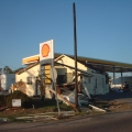 Wrecked gas station.