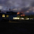 2003 fires in California, flames on the hill as seen from base camp.