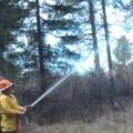 Operating a hose.