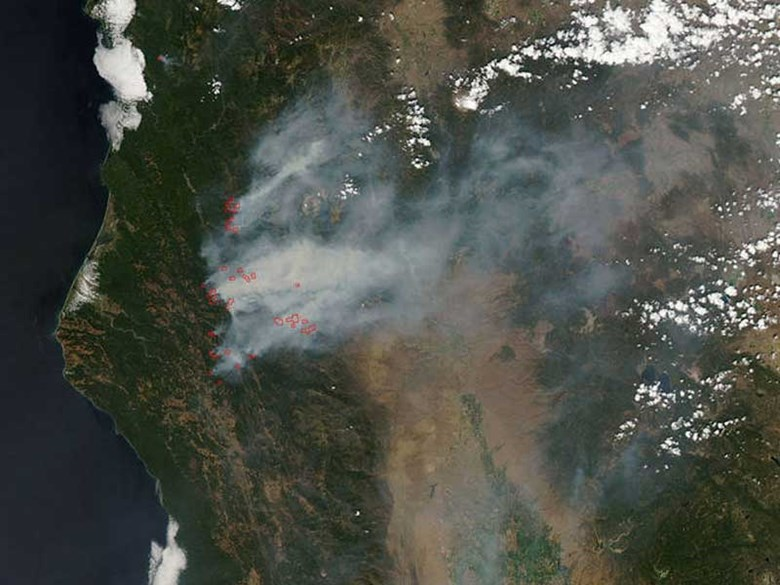 North California Fires from space - Obadiah's Wildfire Fighters